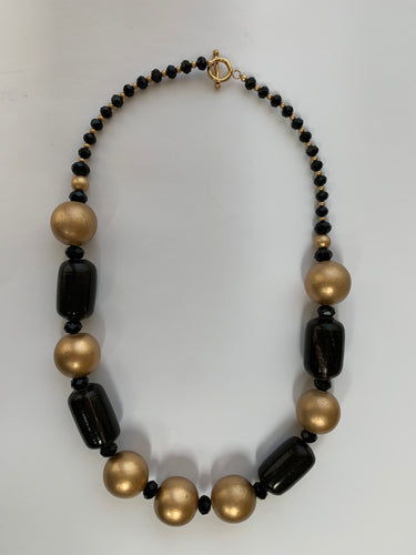 Vintage beaded necklace: Horn, wood, crystal & gold