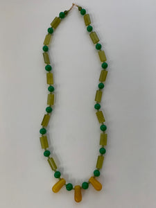 Vintage beaded necklace: glass, crystal, gold filled beads
