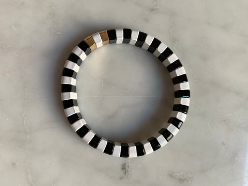 Black and white enamel bracelet