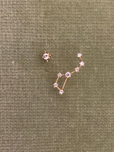 14k gold Little Dipper and stud star earrings