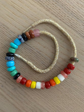 Load image into Gallery viewer, The rainbow semi precious & glass lurex bracelet