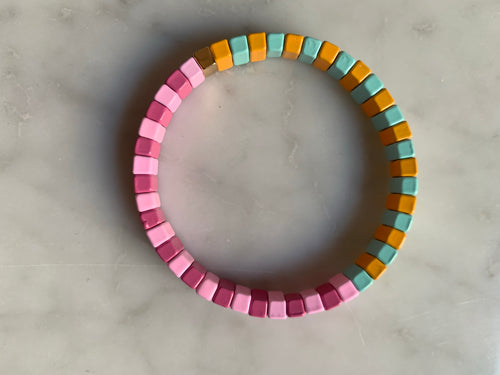 Pinks and blues enamel bracelet