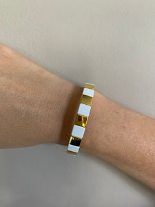white & gold square enamel bracelet