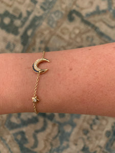 14k gold diamond and sapphire moon and star bracelet