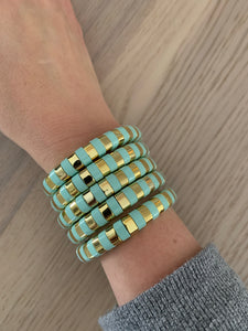 Spearmint and gold enamel bracelet