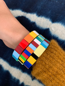 Rainbow block bracelet [set of three]