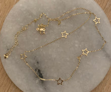 Load image into Gallery viewer, 14k gold star station necklace