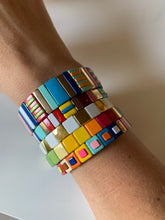 Load image into Gallery viewer, white & gold square enamel bracelet