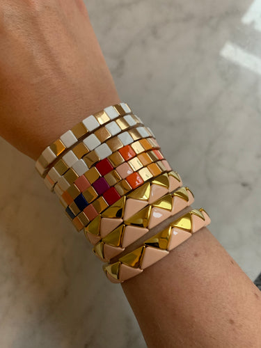 Pink and Gold triangle enamel bracelet