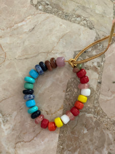 The rainbow semi precious & glass lurex bracelet