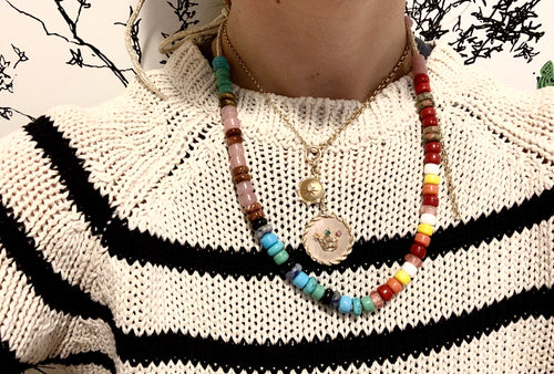The rainbow semi precious and glass lurex necklace