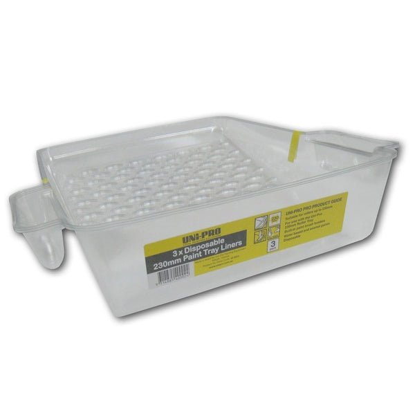 Uni-Pro Pack of 3x Disposable 230mm Paint tray liners with paint brush holders-Tray-PaintAccess.com.au