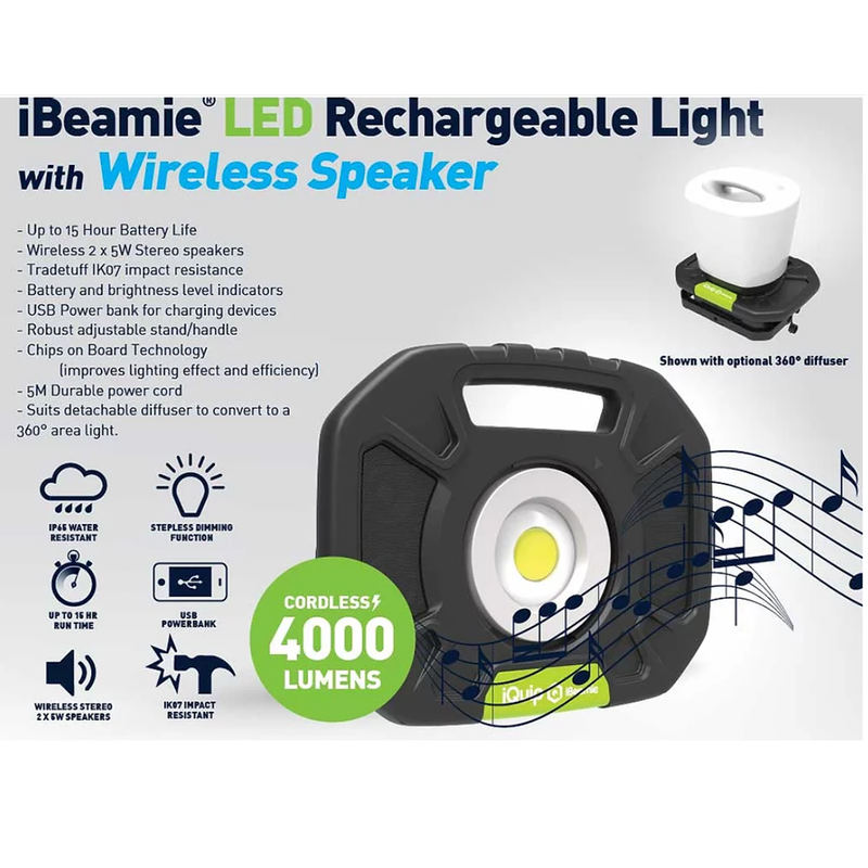 iQuip iBeamie LED Cordless Portable Light 40w with Bluetooth Speaker-Building Equipment-PaintAccess.com.au