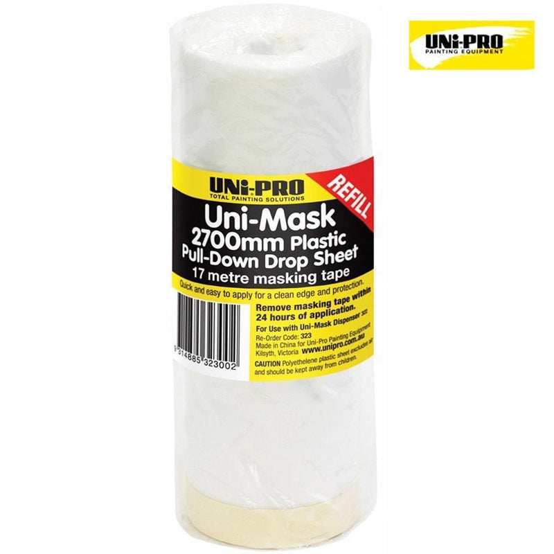 Uni-Pro Masking Film Rolls. Pull Down Drop Sheet 2700mm x 17m Refill-Protection-PaintAccess.com.au