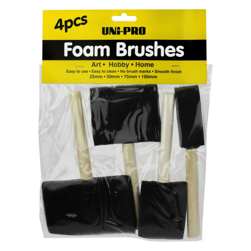 UNi-PRO 4 Piece Foam Brush Set-Brush-PaintAccess.com.au