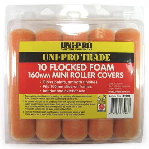 Uni-Pro Flocked Foam Roller Covers 10 Pack 160mm
