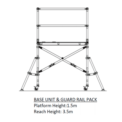 Oldfields MINI Zippy Scaffold Base Unit & Extension Pack Bundle 1.5m