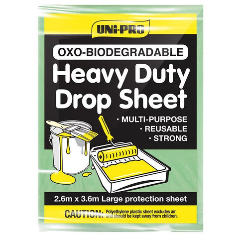 Uni-Pro OXO-Biodegradable Heavy Duty Plastic Drop Sheet 3.6m x 2.7m (12' x 9')