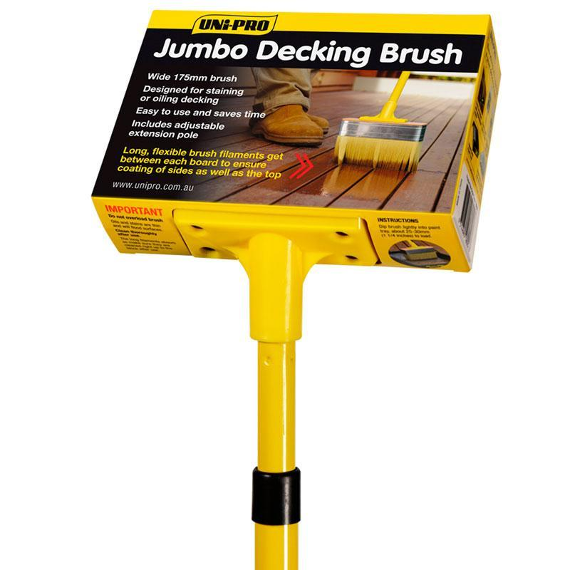 Uni-Pro Jumbo Decking Brush with Pole 175mm-Deck Products-PaintAccess.com.au