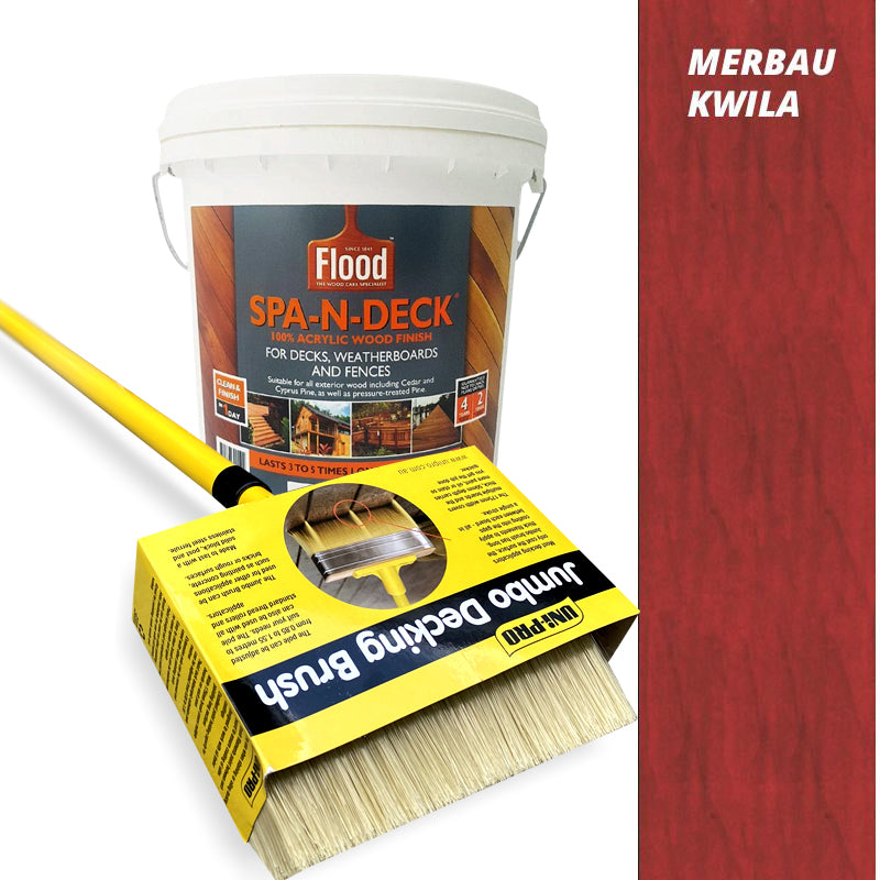 Flood Spa-N-Deck 10 Litres and Uni-Pro Jumbo Decking Brush with Pole 175mm - Combo Deal
