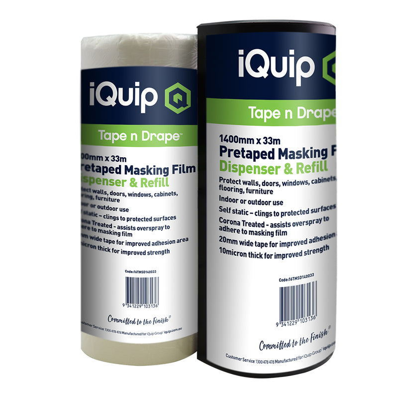 iQuip Pretaped Masking Film & Dispenser - Box of 24 - Bulk Special-Masking Film-PaintAccess.com.au