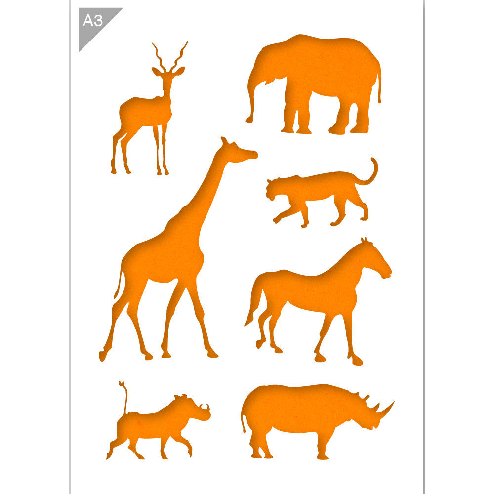 African Animals Stencil - Animal Silhouettes - A3 Size Stencil
