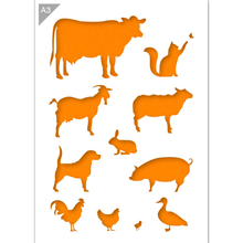 Load image into Gallery viewer, Farm Animals Stencil - Animal Silhouettes - A3 Size Stencil