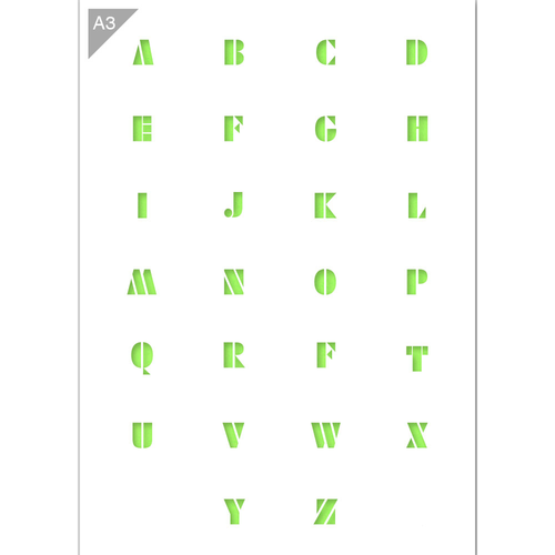 Letter Stencil - Uppercase Letters - A3 Size Stencil