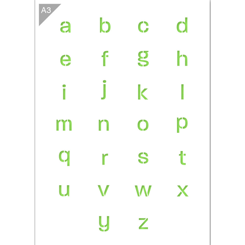 Letter Stencil - Lowercase Letters - A3 Size Stencil