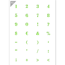 Load image into Gallery viewer, Numbers & Symbols Stencil - A3 Size Stencil