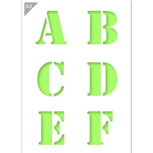 Load image into Gallery viewer, Letter Stencil - Uppercase A, B, C, D, E, F Letters - A3 Size Stencil