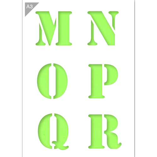 Letter Stencil - Uppercase M, N, O, P, Q, R Letters - A3 Size Stencil