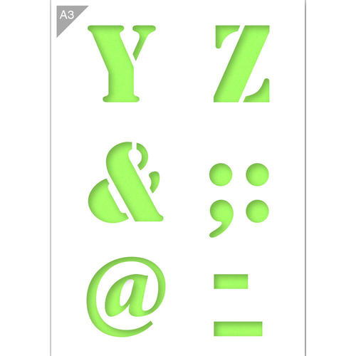 Letter Stencil - Uppercase Letters Y, Z, &, @ - A3 Size Stencil