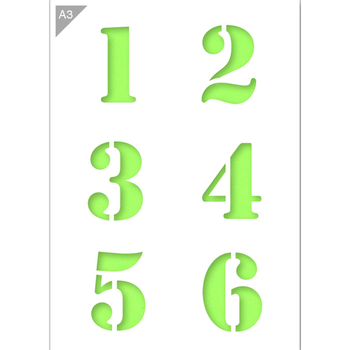 Number Stencil - Large Numbers 1, 2, 3, 4, 5, 6 - A3 Size Stencil