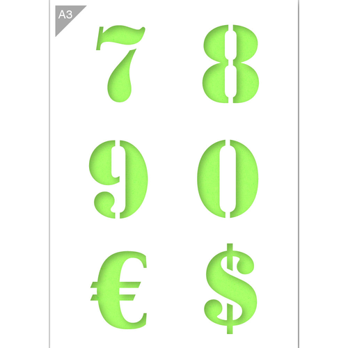Number Stencil - Large Numbers 7, 8, 9, 0, €, $ - A3 Size Stencil
