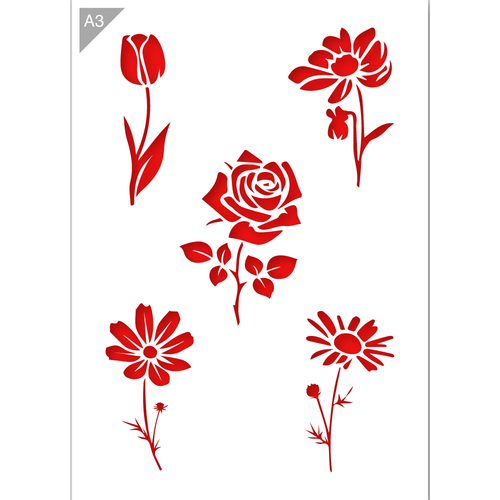 Flowers Stencil - Tulip, Rose, Daisy - A3 Size Stencil