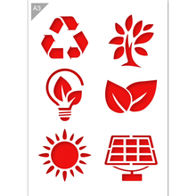 Load image into Gallery viewer, Green Energy Signs Stencil - A3 Size Stencil
