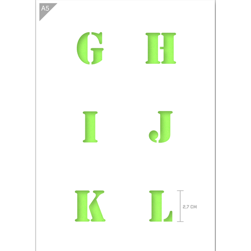 Letter Stencil - Uppercase G, H, I, J, K, L Letters - A5 Size Stencil