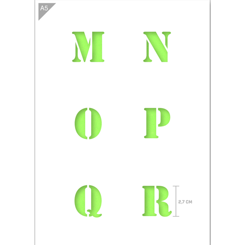 Letter Stencil - Uppercase M, N, O, P, Q, R Letters - A5 Size Stencil