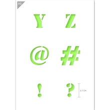 Load image into Gallery viewer, Letter Stencil - Uppercase Y, Z, @, #, !, ? Letters - A5 Size Stencil