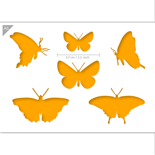 Butterflies Stencil - Butterfly Silhouettes - A5 Size Stencil