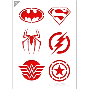 Superhero Stencil - Superman, Batman, Spiderman, Wonder Woman, Flash, Captain America Stencil