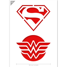 Load image into Gallery viewer, Superhero Stencil - Superman, Wonder Woman - A5 Size Stencil