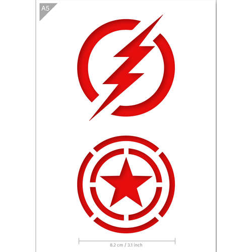 Superhero Stencil - The Flash, Captain America - A5 Size Stencil