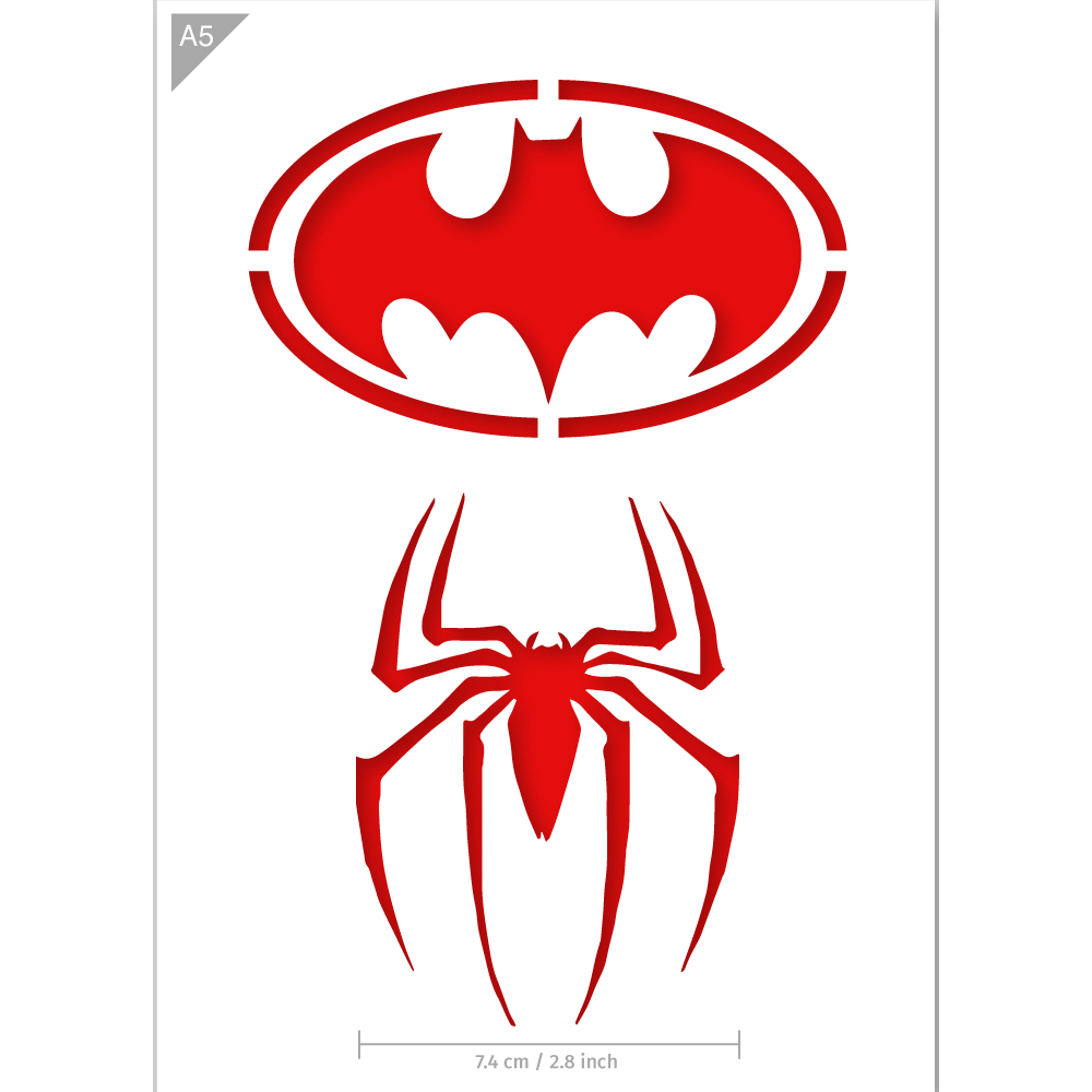 Superhero Stencil - Batman, Spiderman - A5 Size Stencil