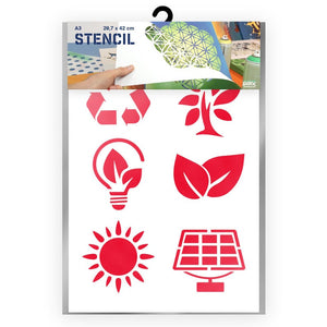 Green Energy Signs Stencil - A3 Size Stencil