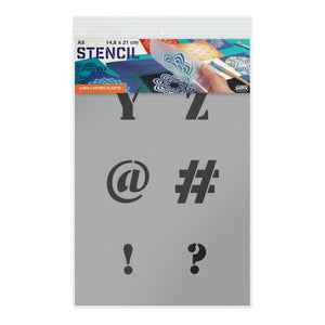 Letter Stencil - Uppercase Y, Z, @, #, !, ? Letters - A5 Size Stencil
