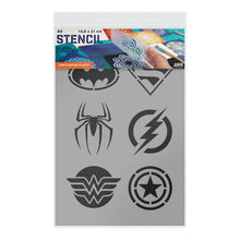 Load image into Gallery viewer, Superhero Stencil - Superman, Batman, Spiderman, Wonder Woman, Flash, Captain America Stencil