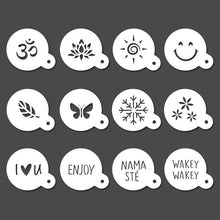 Load image into Gallery viewer, Cappuccino Stencils - Reusable Barista Stencil - Coffee Stencils - 12pcs yoga, nature & good vibes