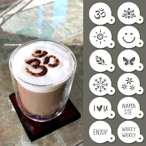 Cappuccino Stencils - Reusable Barista Stencil - Coffee Stencils - 12pcs yoga, nature & good vibes